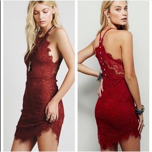 Free People Lace Red Burgundy Dress